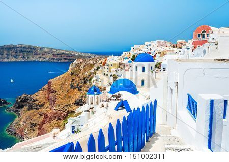 Panoramic View Of Oia Town In Santorini Island, Greece.