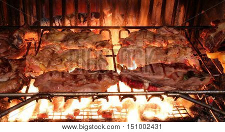 Meat Grilled Chicken In The Restaurant