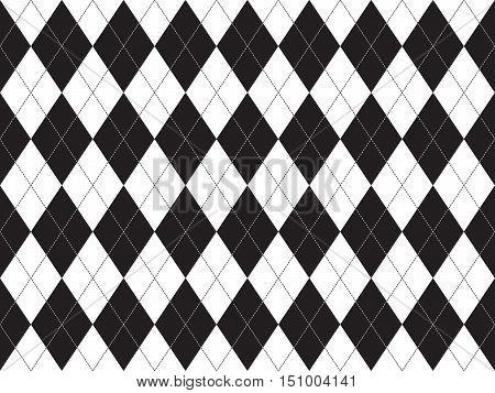 Black white argyle seamless pattern. Flat design. Vector illustration.