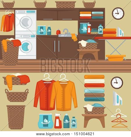 Laundry room with washer illustration. Flat vector equipment and elements: basket and laundry machine, soap and detergent, clothes and iron, hanger and powder for wash.