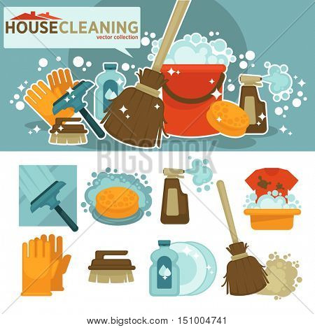 Set of cleaning service symbols. Equipment for cleanup and housework: sponge, bucket, broom, mop, brush, detergent product, glass cleaner. Flat vector illustration
