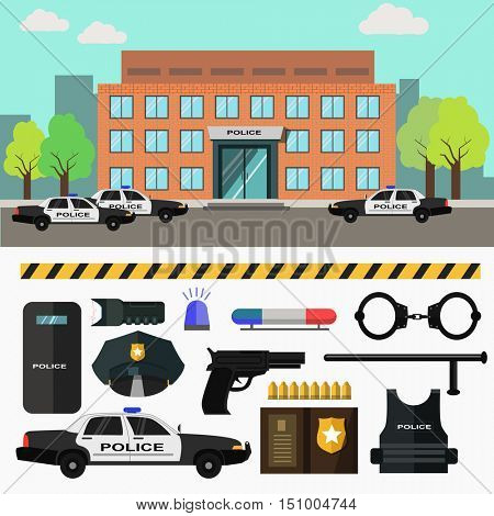 City police station. Vector illustration with police department building and policeman, patrol car and officer, badge and handcuffs. Flat style. Isolated on white background