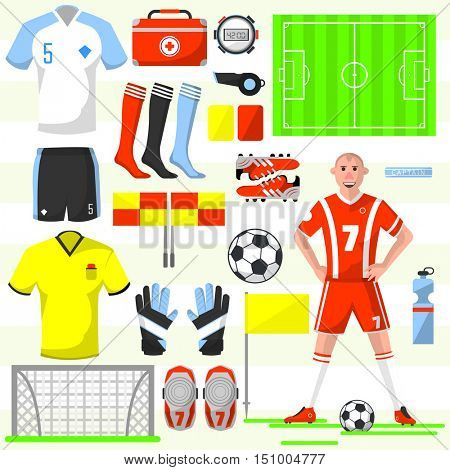 Set of football icons in flat style: ball and whistle, flag and card, shirt and field, player and shoe, stopwatch. Vector illustration with various soccer symbols isolated on white