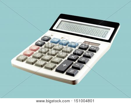 calculator isolated on blue background, equipment for calculating the numbers in business & finance or education