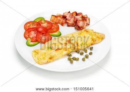 Omelet with Bacon Slices stack and vegetables isolated On White Background