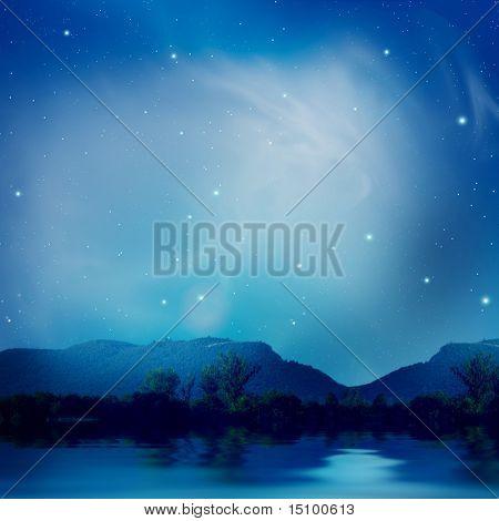 Lake under the stars