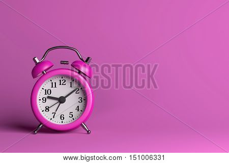 Purple Alarm Clock on Pink Empty Background 3D Illustration