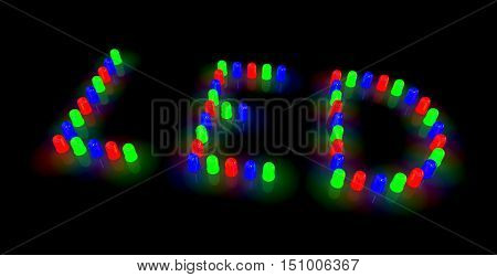 Led Diodes Arranged In Led Text Layout