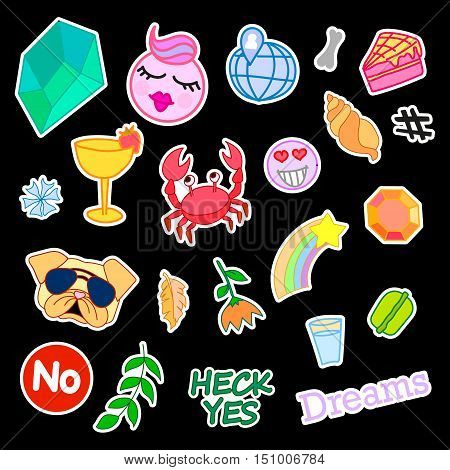 Fashion patch badges with different elements. Set of stickers, pins, patches and handwritten notes collection in cartoon 80s-90s comic style. Vector illustration isolated. Vector clip art.