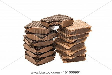 chocolate wafer isolated on a white background