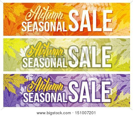 Seasonal autumn sale backgrounds set with autumn leaves. Lettering with calligraphic inscription Autumn Sale. Vector stock illustration.