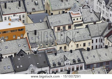 Norway. Aerial european rural city view. Alesund. Kniven viewpoint. Horizontal