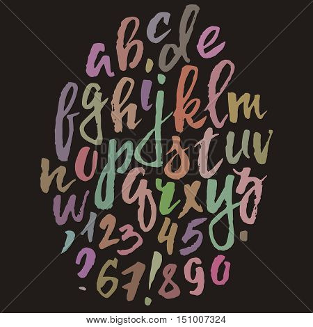 Handwritten vector alphabet. Grunge texture. Modern hand drawn alphabet written with brush pen. Colorful ABC poster. Calligraphic alphabet poster. Letters composition.