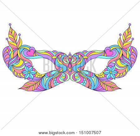 Vector illustration of mardi gras mask on white background. Carnival, masquerade mask.