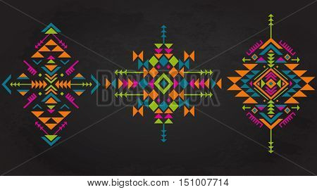 Set of three colorful ethnic pattern elements with geometric shapes. Tribal ornate abstract backgrounds. Stylish trendy design elements. Vector illustration.