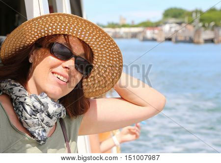 Beautiful Woman With Straw Hat And Sun Glasses