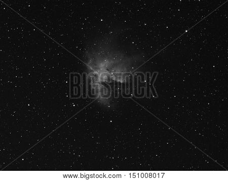 NGC 281 is also Pacman Nebula Sharpless 184 or IC 11 - H II region emission nebula located in the constellation Cassiopeia. It is located at a distance of about 9500 light-years from Earth in the Perseus arm. This nebula is a classic H II region illuminat