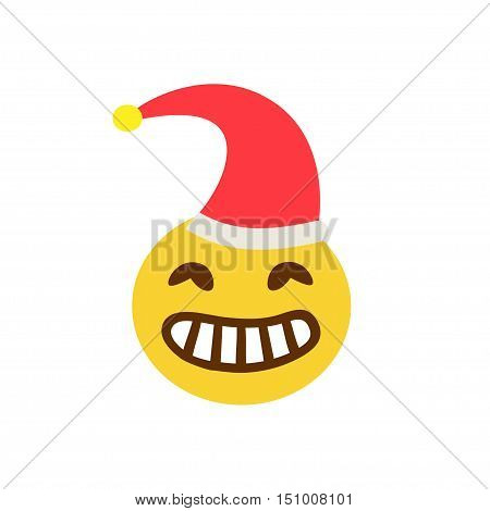 Angry face with teeth in a cap on a white background. Vector illustration