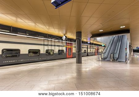 Zurich, Switzerland - 9 October, 2016: platform in the underground part of Zurich main railway station. Zurich main railway station is the largest railway station in Switzerland and one of the busiest railway stations in the world.