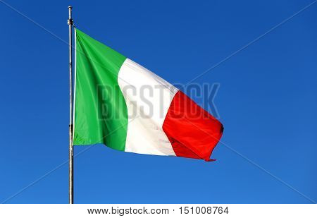 Italian Flag With The Colors Red White And Green