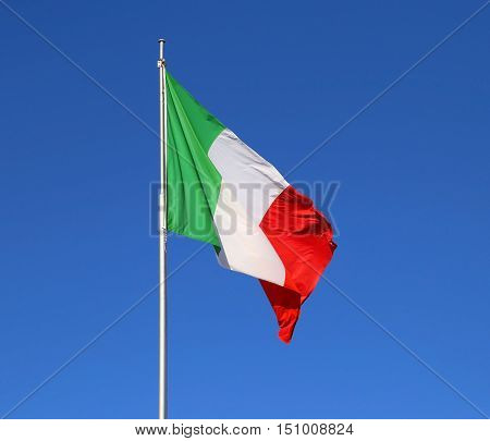 Italian Flag With The Colors Red White And Green And The Blue Sk