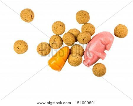 Handful Of Scattered Pepernoten Cookies With Marzipan Pig And Carrot