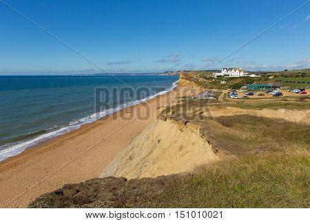 Burton Bradstock Dorset England uk beautiful jurassic coast with blue sky and sea in summer