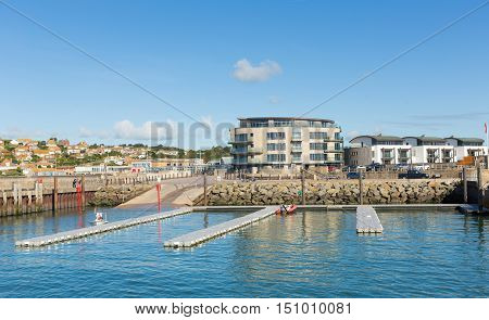 West Bay harbour Dorset uk on a beautiful day with blue sky in summer