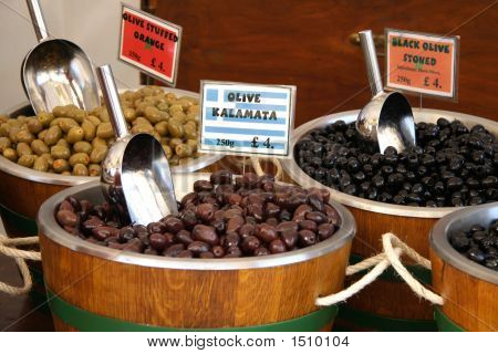 Olives In A Market Barrels