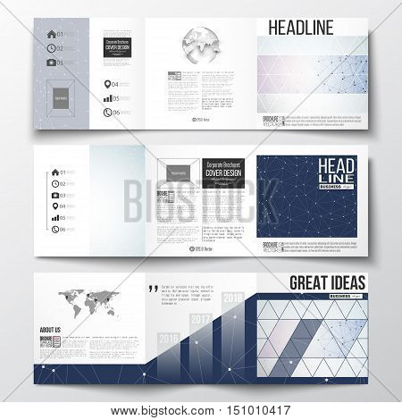 Vector set of tri-fold brochures, square design templates with element of world map and globe. Polygonal backdrop with connecting dots and lines, connection structure. Digital or science vector