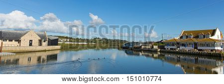 River Brit West Bay Dorset uk on a beautiful day with blue sky in summer panorama
