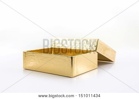 Gold color box on the white background.