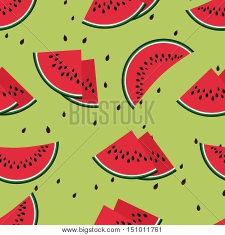 Watermelons vector seamless pattern. Red slice of sweet watermelon illustration