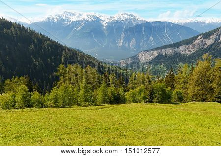 Panoramic view from the commune Flaschen to mountain Schwarzhorn on Bernese Alps
