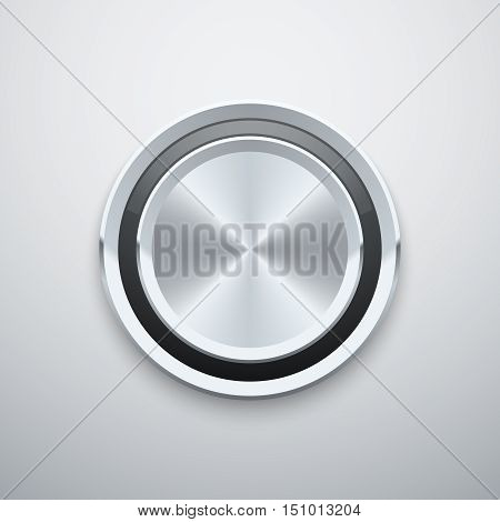 Realistic metal chrome silver steel round vector knob button. Interface for control volume music illustration