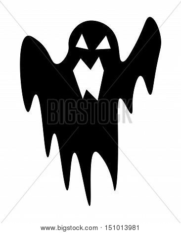 Ghost. Scary ghost halloween silhouette character on wight