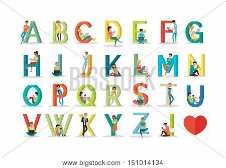 English alphabet with humans using modern technology devices. Social network. Alphabet with cartoon pictures of people using modern computer technologies for communication. Flat design. ABC vector