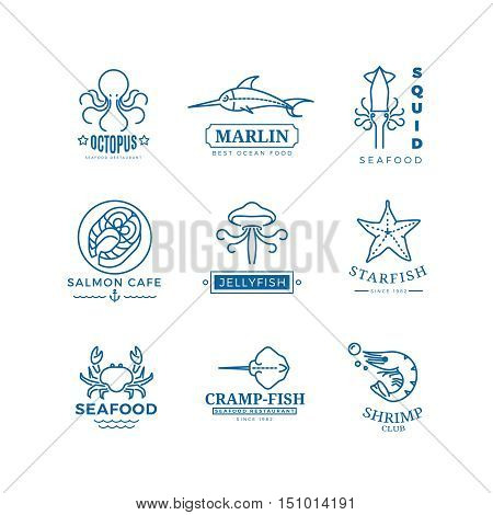 Seafood labels thin line vector labels, logos, emblems for restaurant, fish and octopus illustration