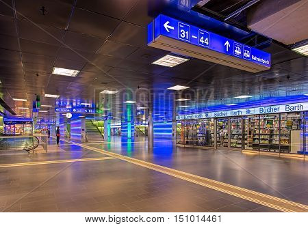 Zurich, Switzerland - 9 October, 2016: ShopVille passage of Zurich main railway station in early morning. ShopVille is an underground passage housing numerous stores, offering attractive shopping possibilities 365 days a year.
