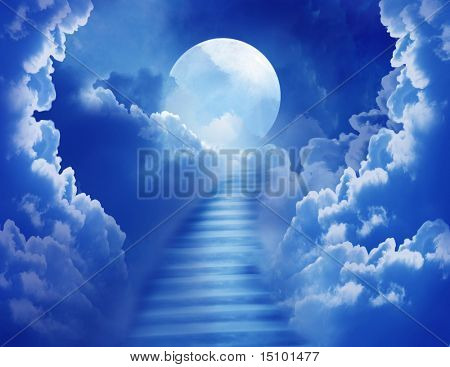 cloudy night sky with a stair towards the  moon