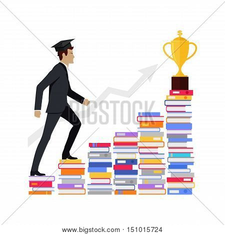 Professional growth. Male young businessman going upstairs on books. Gold trophy cup at the end of the way. Lifelong constant learning. Business education. Getting knowledge without rest. Vector illustration