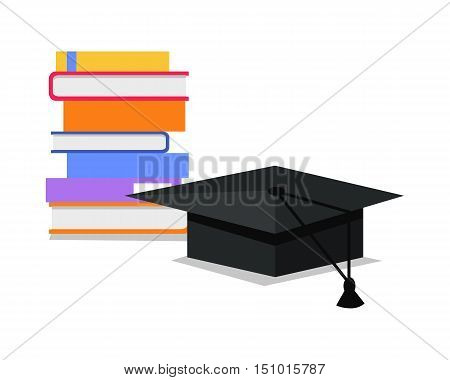 Stack of books and square academic cap. Professional growth. Necessary to get knowledge constantly. Lifelong constant learning. Business education. Getting knowledge without rest. Vector illustration