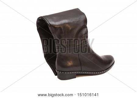 Female black high boot isolated on white background