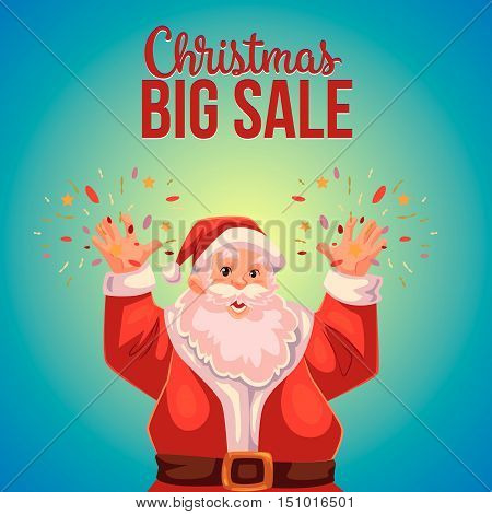 Cartoon style Santa Claus making fireworks, Christmas vector sale banner, blue background, text at the top. Half length portrait of Santa declaring a sale, Christmas sale banner template