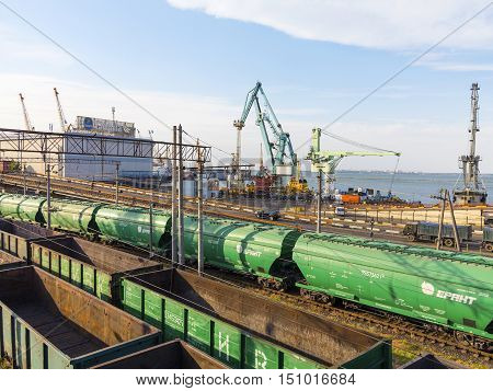 Odessa, Ukraine - August 17, 2010: Freight Trains Stand In A Queue For Loading At The Cargo Terminal