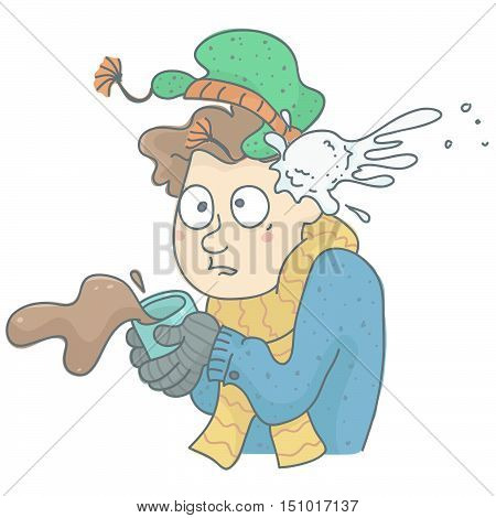 Humorous illustration of man being hit by snowball. Man in winter clothing with coffee cup spilling, shocked by snowball hit.