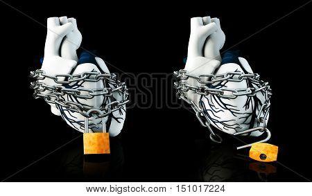 3d Illustration of Lock and Unlock Anatomy Human Heart - Isolated on black