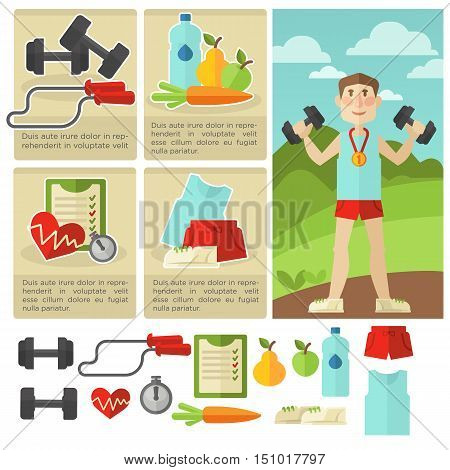 Set of health food and fitness. Symbol of healthy life and diet, exercise sport and gym. Vector icons: bottle, dumbbell, stopwatch and sneakers. Flat style. Isolated illustrations