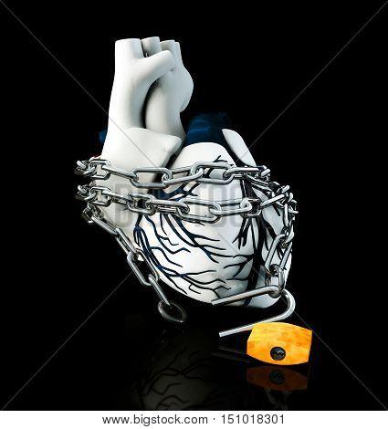 3d Illustration of Anatomy Unlock Human Heart - Isolated on black