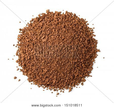 Top view of instant coffee granules isolated on white